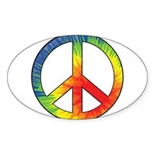 Peace Sign Tie Dye Offset Rainbow Decal