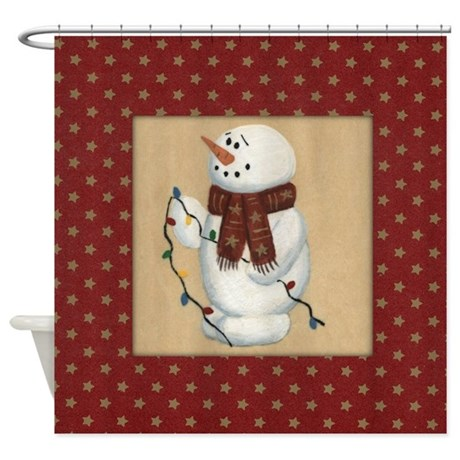 acrylic painting bathroom d cor snowman with lights shower curtain