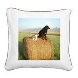 Cat and Dog on Hay Bale Square Canvas Pillow