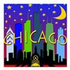 "Chicago Skyline nightlife Square Car Magnet 3"" x 3"