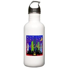 Chicago Skyline nightlife Water Bottle