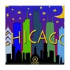 Chicago Skyline nightlife Tile Coaster