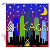 Chicago Skyline nightlife Shower Curtain