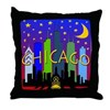 Chicago Skyline nightlife Throw Pillow