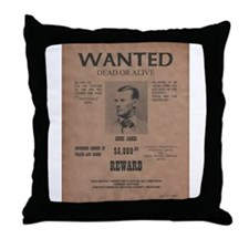 Jesse James Wanted Poster Throw Pillow