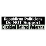 No Support for Veterans Bumper Sticker