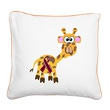 burg ribbon giraffe copy.png Square Canvas Pillow