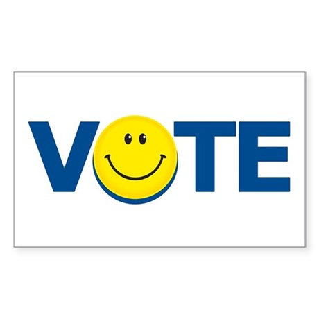 Vote Smiley Face: Rectangle Sticker