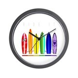 Rainbow Surf Wall Clock