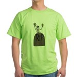 tombstone and skeleton design.png Green T-Shirt