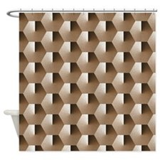 Hexagons - Brown Shower Curtain