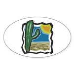 cactus scene copy.jpg Sticker (Oval 50 pk)