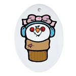 cute little girl snow cone.png Ornament (Oval)