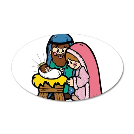 cute nativity scene.png 35x21 Oval Wall Decal