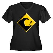 Tsunami Warning Women's Plus Size V-Neck Dark T-Sh
