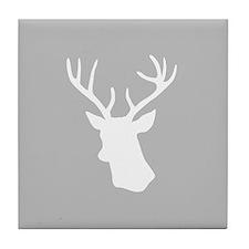 White stag deer head Tile Coaster