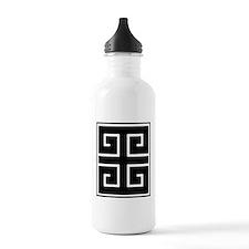 Greek Key Black Water Bottle