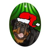 SANTA PAWS Rottweiler Ornament (Oval)