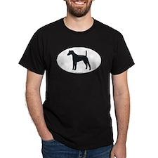 Smooth Fox Terrier Silhouette Black T-Shirt