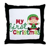 Baby Elf Babies First Christmas Throw Pillow