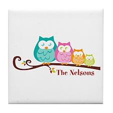 Custom owl family Tile Coaster