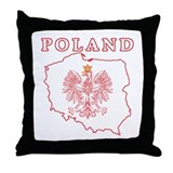 Red Poland Map With Eagle Throw Pillow