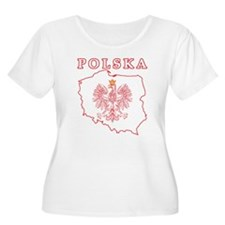 Red Polska Map With Eagle T-Shirt
