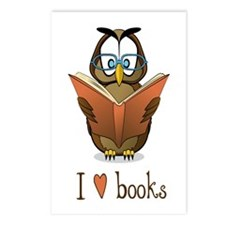 Book Owl I Love Books Postcards (Package of 8)