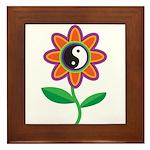 Retro Yin Yang Flower Framed Tile