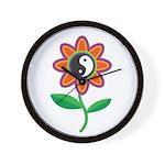 Retro Yin Yang Flower Wall Clock