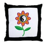 Retro Yin Yang Flower Throw Pillow