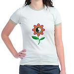 Retro Yin Yang Flower Jr. Ringer T-Shirt