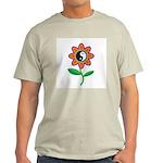 Retro Yin Yang Flower Ash Grey T-Shirt