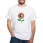 Retro Yin Yang Flower White T-Shirt