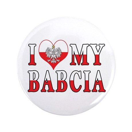 "I Heart My Babcia Flag 3.5"" Button (100 pack)"