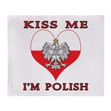 Kiss Me I'm Polish Throw Blanket