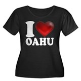 I Heart Oahu Women's Plus Size Scoop Neck Dark T-S