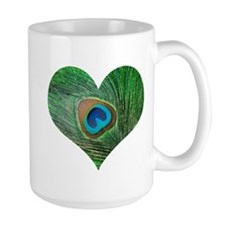 Sparkly Green Peacock Heart Mug