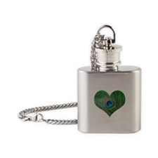 Sparkly Green Peacock Heart Flask Necklace