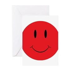 Red Happy Face Greeting Card