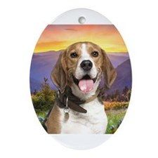 Beagle Meadow Ornament (Oval)
