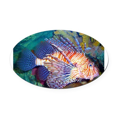 Lion or Turkey Fish Oval Car Magnet