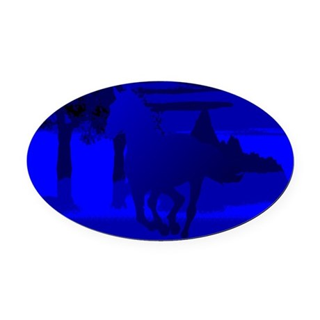 horse4.jpg Oval Car Magnet