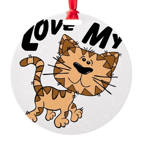 lovecat.png Round Ornament