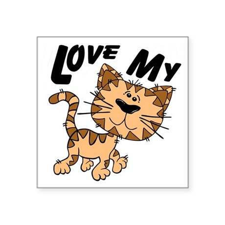"lovecat.png Square Sticker 3"" x 3"""