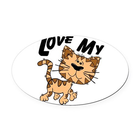 lovecat.png Oval Car Magnet