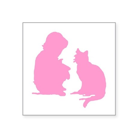 "catnchild2b.png Square Sticker 3"" x 3"""