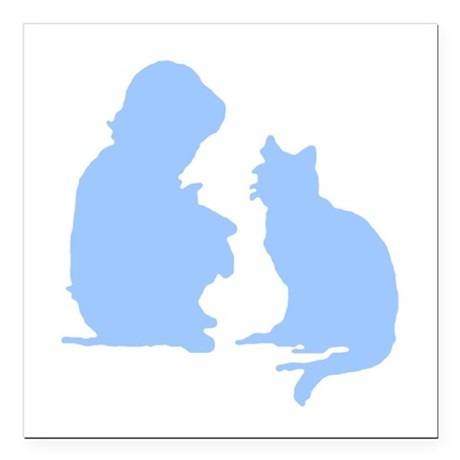 catnchild2a.png Square Car Magnet 3&quot; x 3&quot;