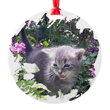 kitten1b.png Round Ornament