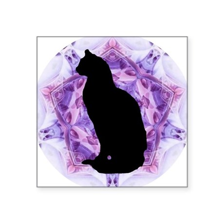 Kaleidoscope Cat Square Sticker 3&quot; x 3&quot;
